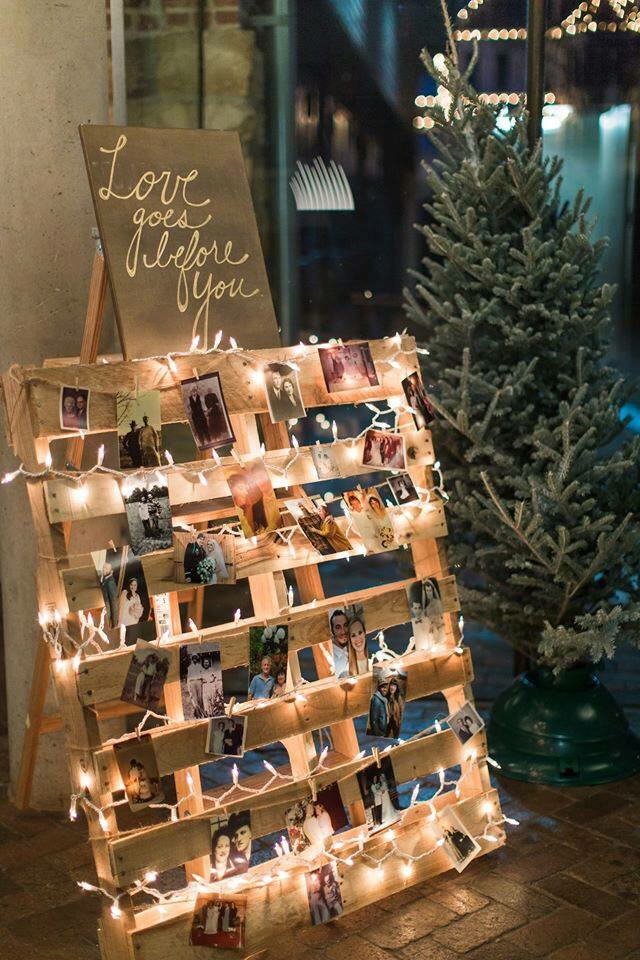 Wedding Decor Using Wooden Palette, Fairy Lights U0026 Polaroids Of Guests