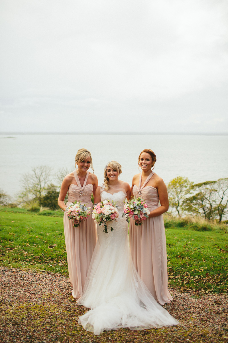 Pink Wedding Dresses Ireland : In northern ireland at mount stuart with pink dessy bridesmaid dresses