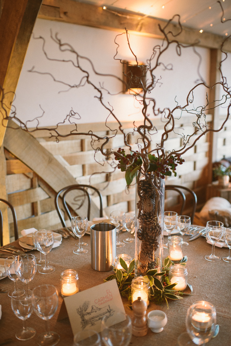 A rustic winter wedding at cripps barn with diy home made for Home decor centerpieces