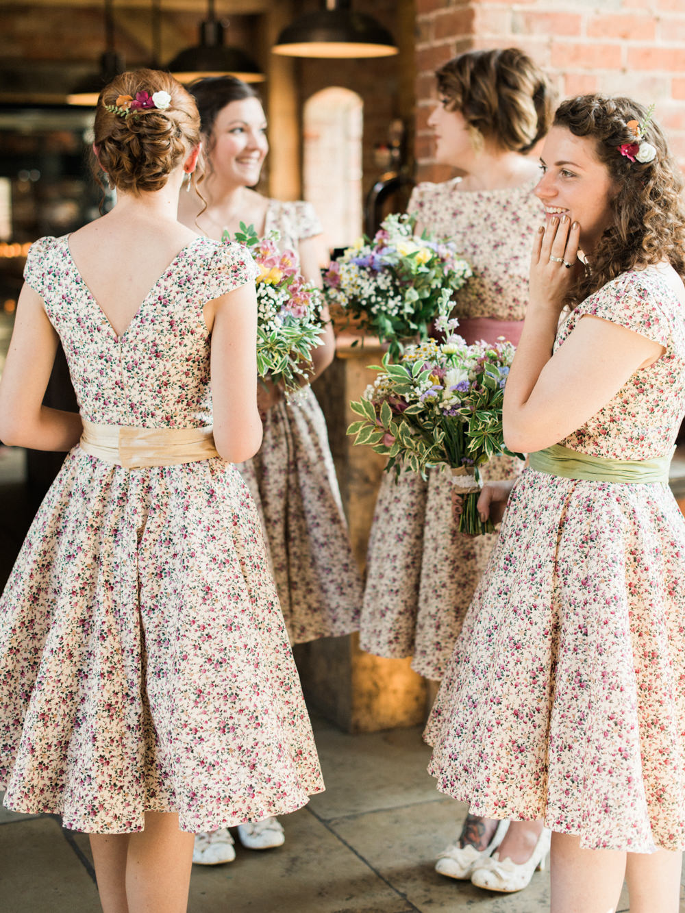 Rustic wedding at shustoke farm barn with floral bridesmaid dresses ditsy print floral bridesmaid dresses ombrellifo Choice Image