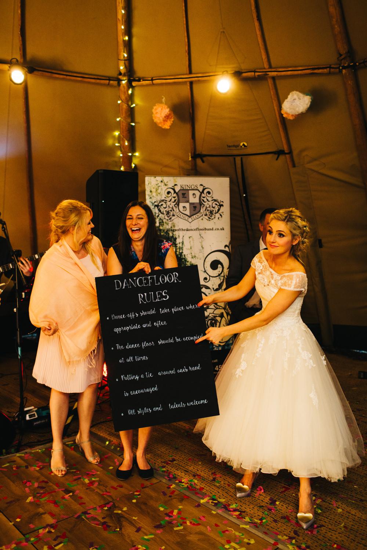 Diy rustic outdoor tipi wedding at ecclesall woods in sheffield dance floor rules wedding sign ombrellifo Images