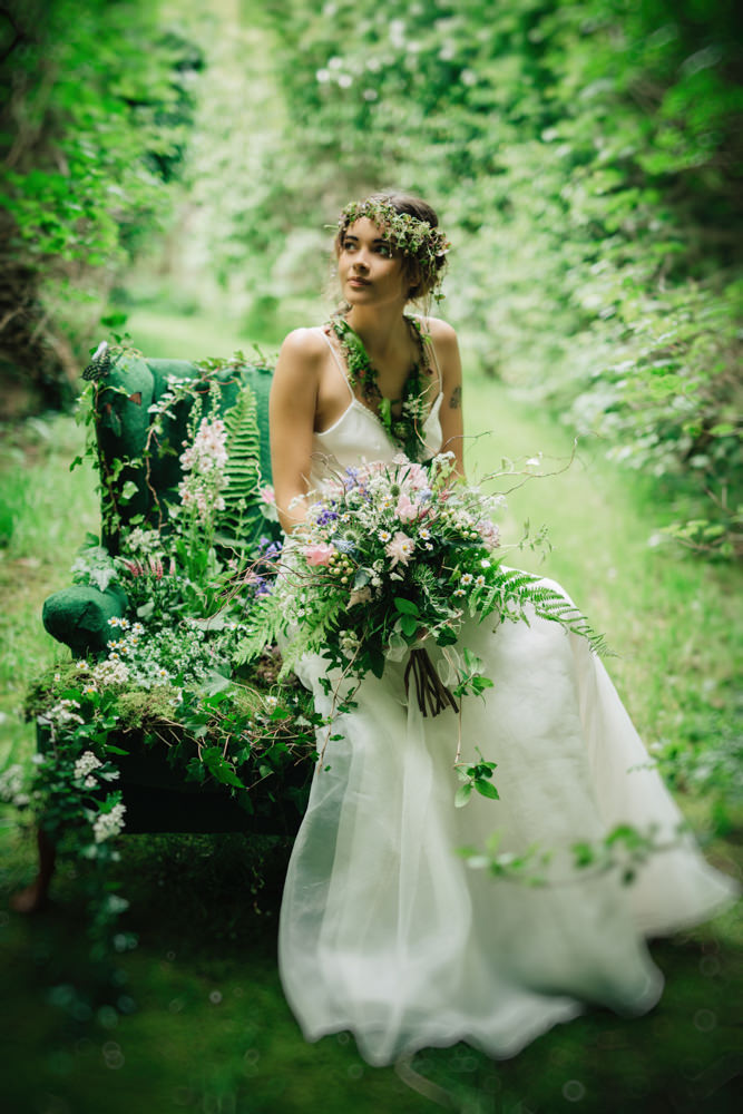 Woodland flower fairy inspired bridal shoot with dresses for Woodland fairy wedding dress