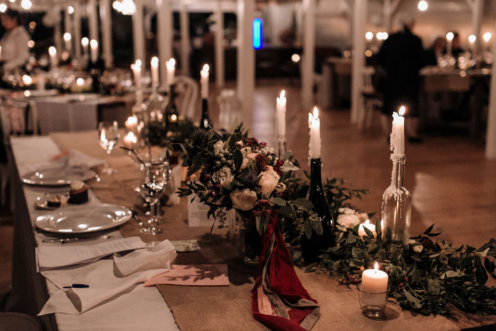 Outdoor ceremony rustic reception at the wedding house for Wedding reception centrepieces