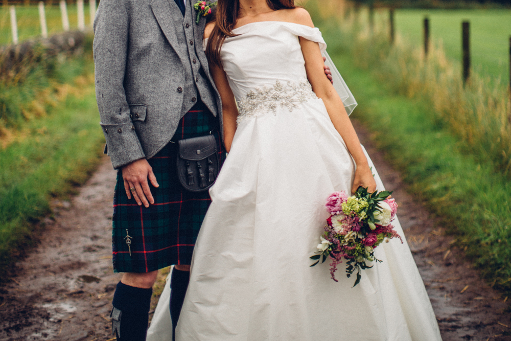 Unique Wedding Dresses Scotland: Sassi Holford Mischa Bridal Gown & Groom In Kilt Scottish