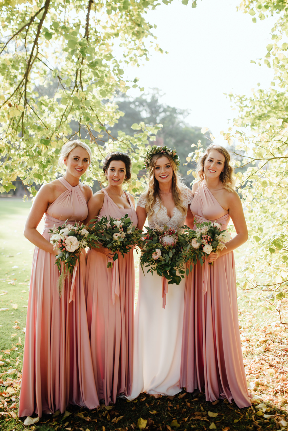 Blush gold autumn wedding at drenagh estate in ni with suzanne bride in bespoke suzanne neville scarlett bridal gown bridesmaids in pink twobirds dresses the ombrellifo Images