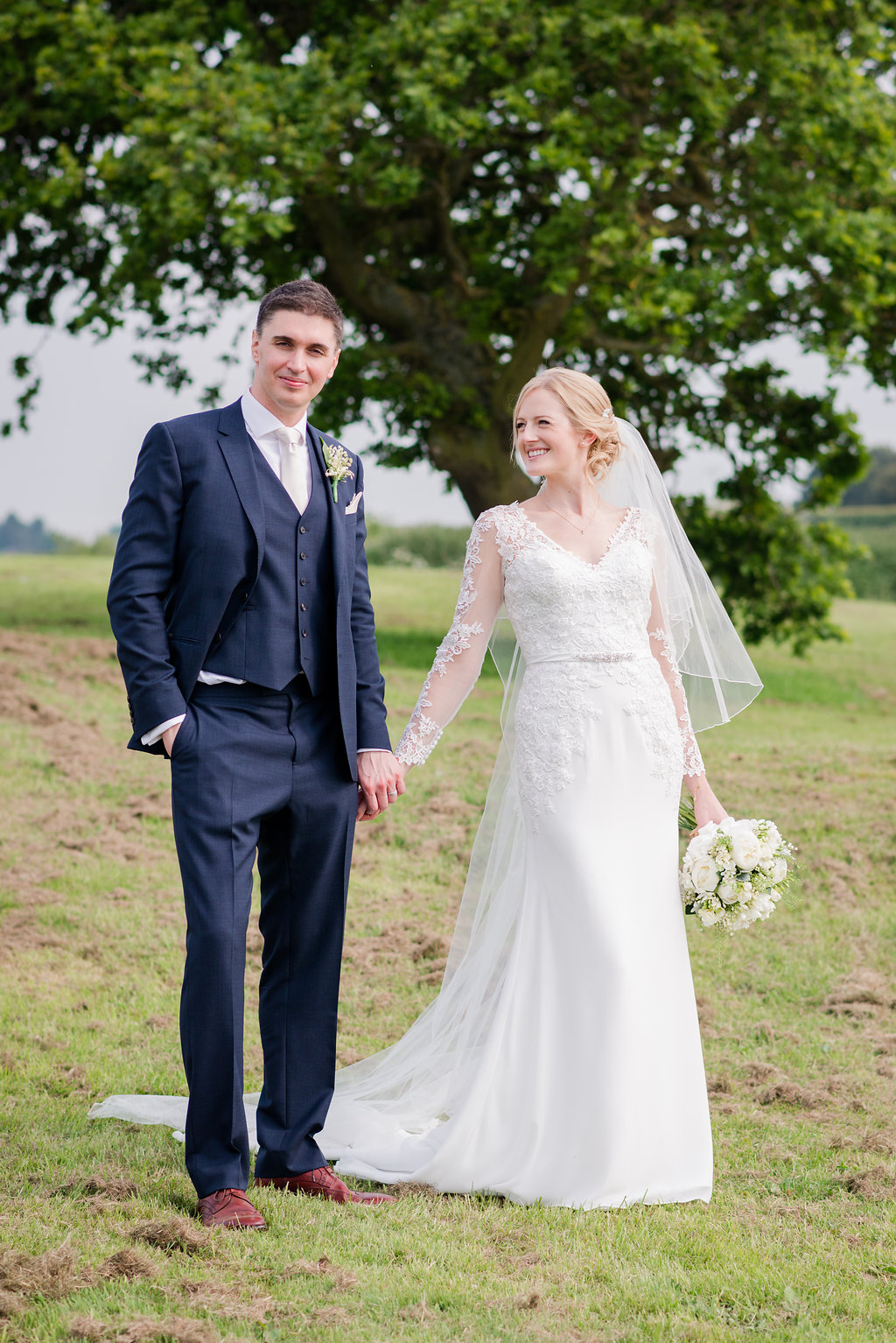 Elegant greenery white rustic marquee wedding at church farm mori lee lace bridal gown groom in navy reiss suit turner moss photography ombrellifo Gallery