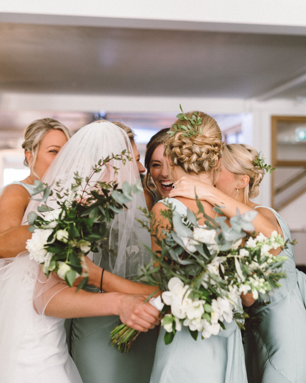 Greenery wedding at the harbour church in portsmouth with bride in pronovias gown bridesmaids in pale green ghost dresses the harbour church portsmouth ombrellifo Gallery