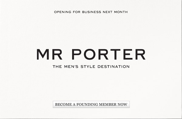 MR PORTER The names Porter, Mr Porter.