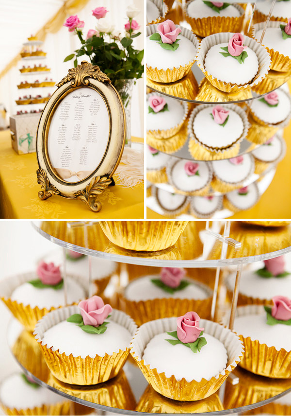 We had plain sponge cup cakes with ivory icing and a delicate pink rosebud