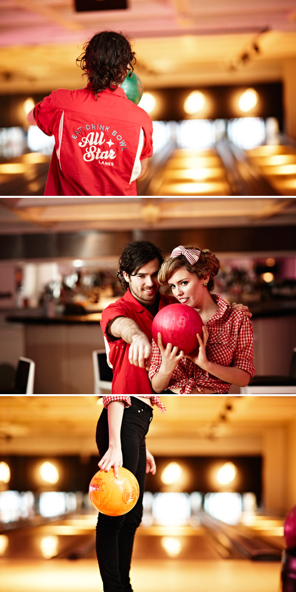 retro e shoot 5 A Retro 1950s Bowling Alley Engagement Shoot
