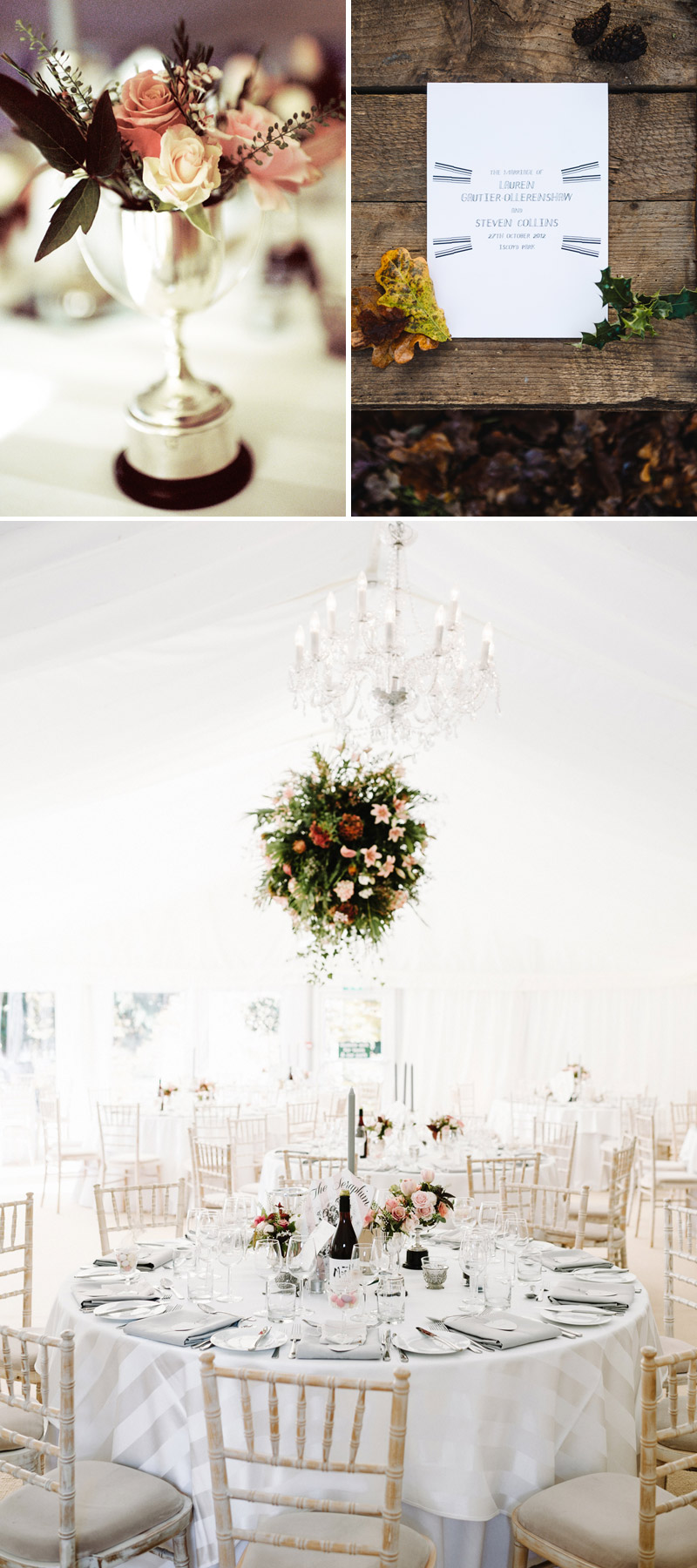 Wedding white colour scheme flower ball