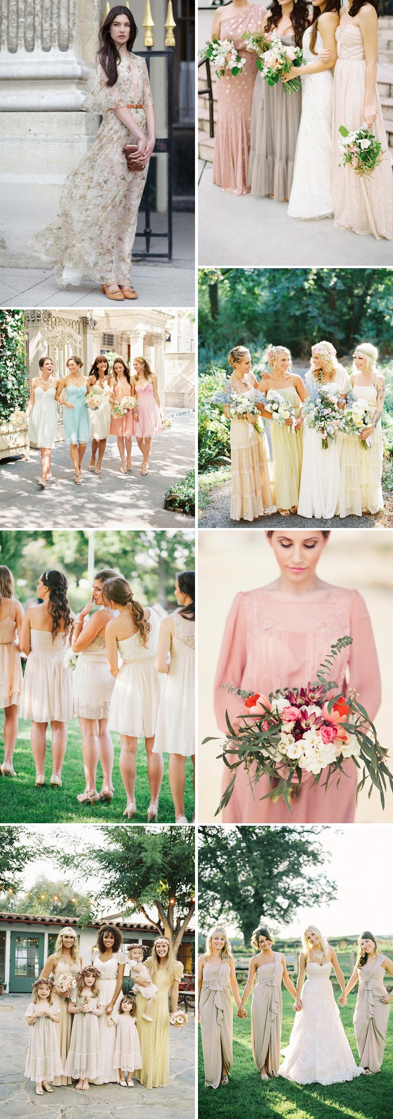 Sorbet Shades Peach, Lemon, Blue, Lime Bridesmaid Dresses Neutral