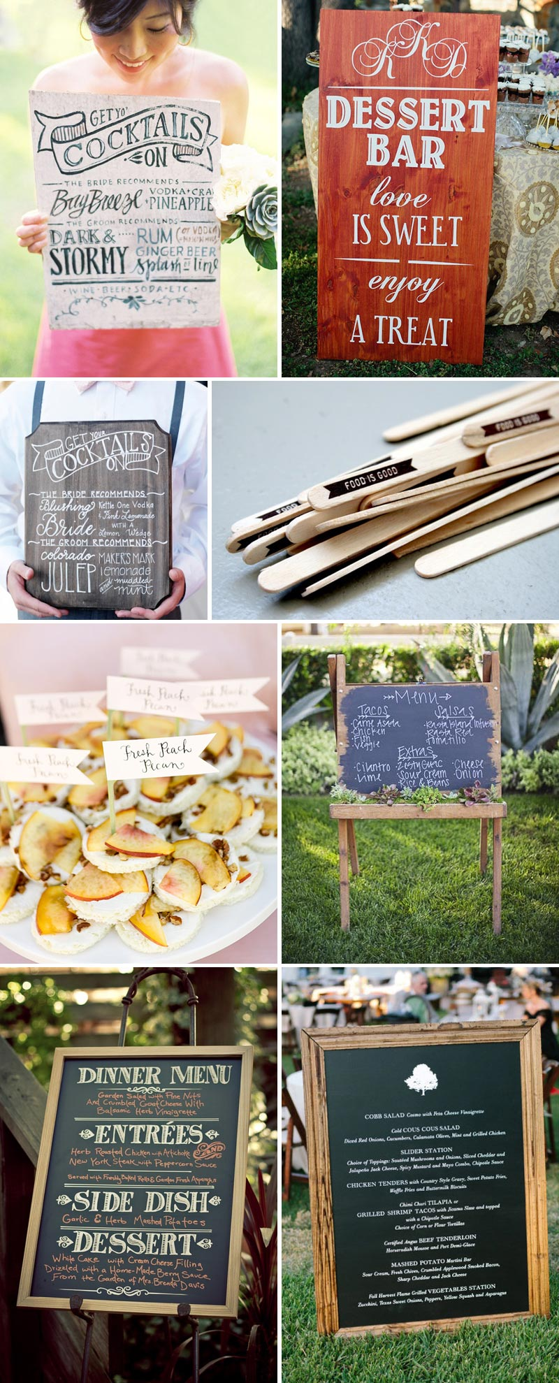 Looks-Good-Enough-To-Eat Wedding Menu Large Sign Inspiration