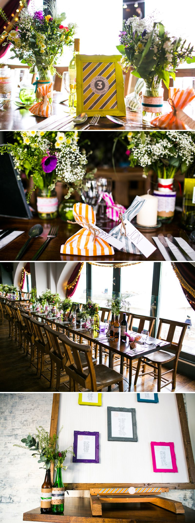 Colour Pop Wedding Decor Stripes Table Settings