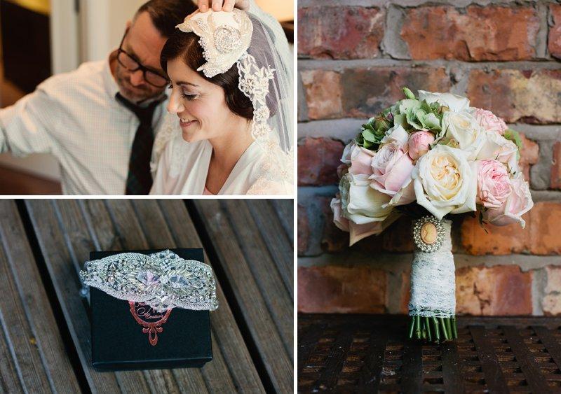 Harper And Quinn Wedding Hair, Bridal Veil Cap, Pink and Cream Rose Bouquet The Flower Lounge Florists