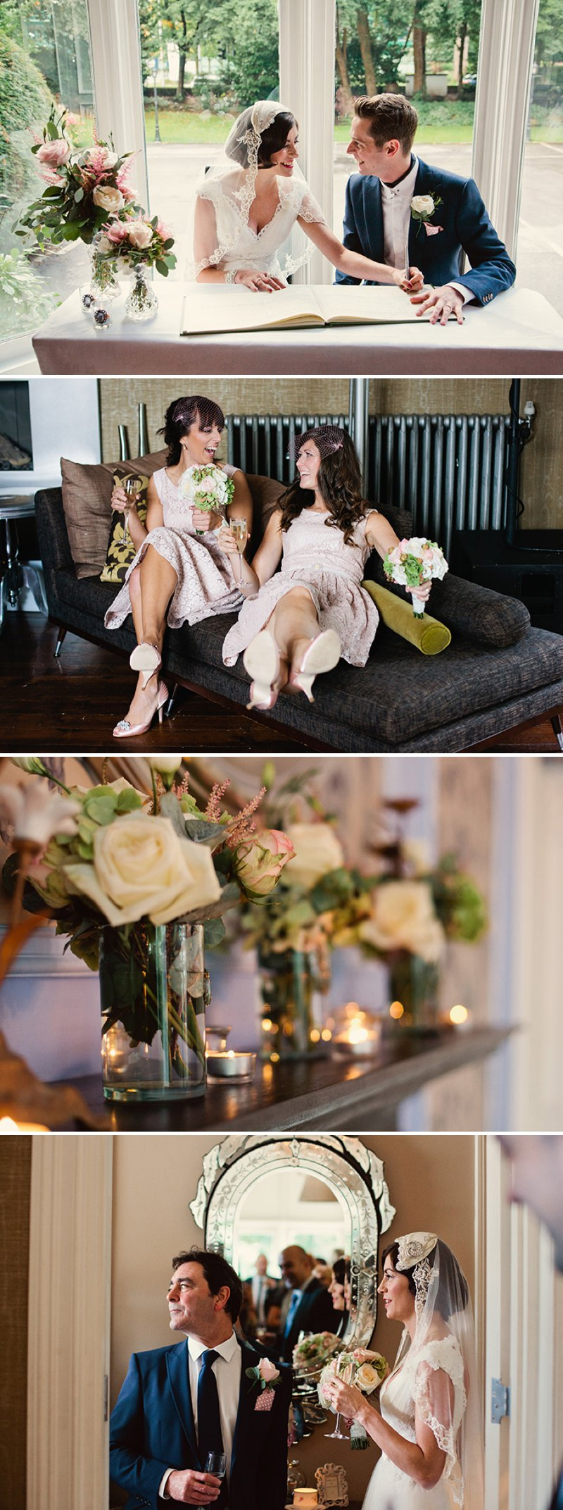 Antique Vintage Bridal Veil Cap Pink Bridesmaid Dress
