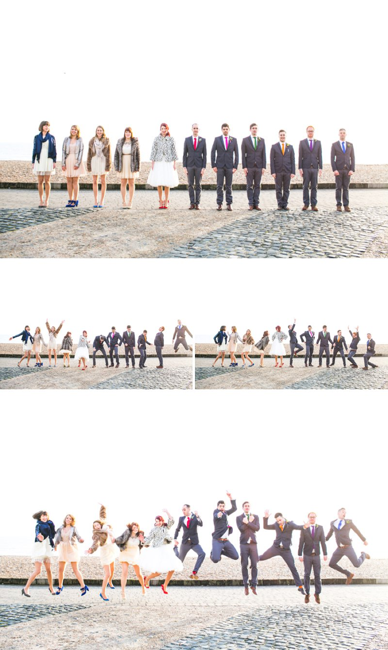Quirky Modern Wedding Group Shots Portraits Beach navyblur Photography