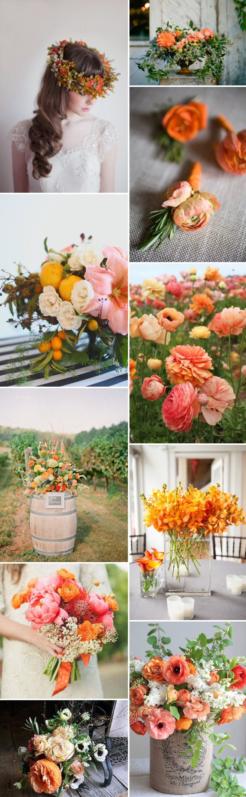 Orange Peach Tangerine Wedding Flowers Fleurs Bouquet