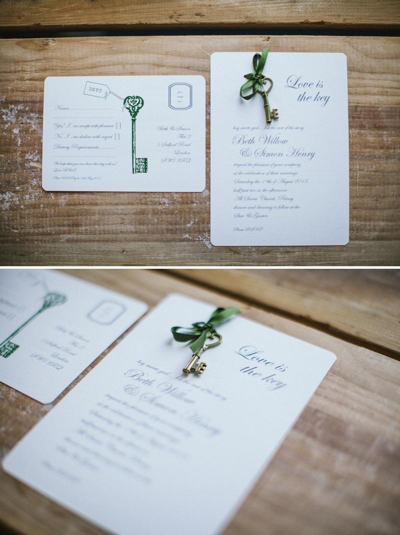 Wedding In A Teacup Key Heart Wedding Stationery