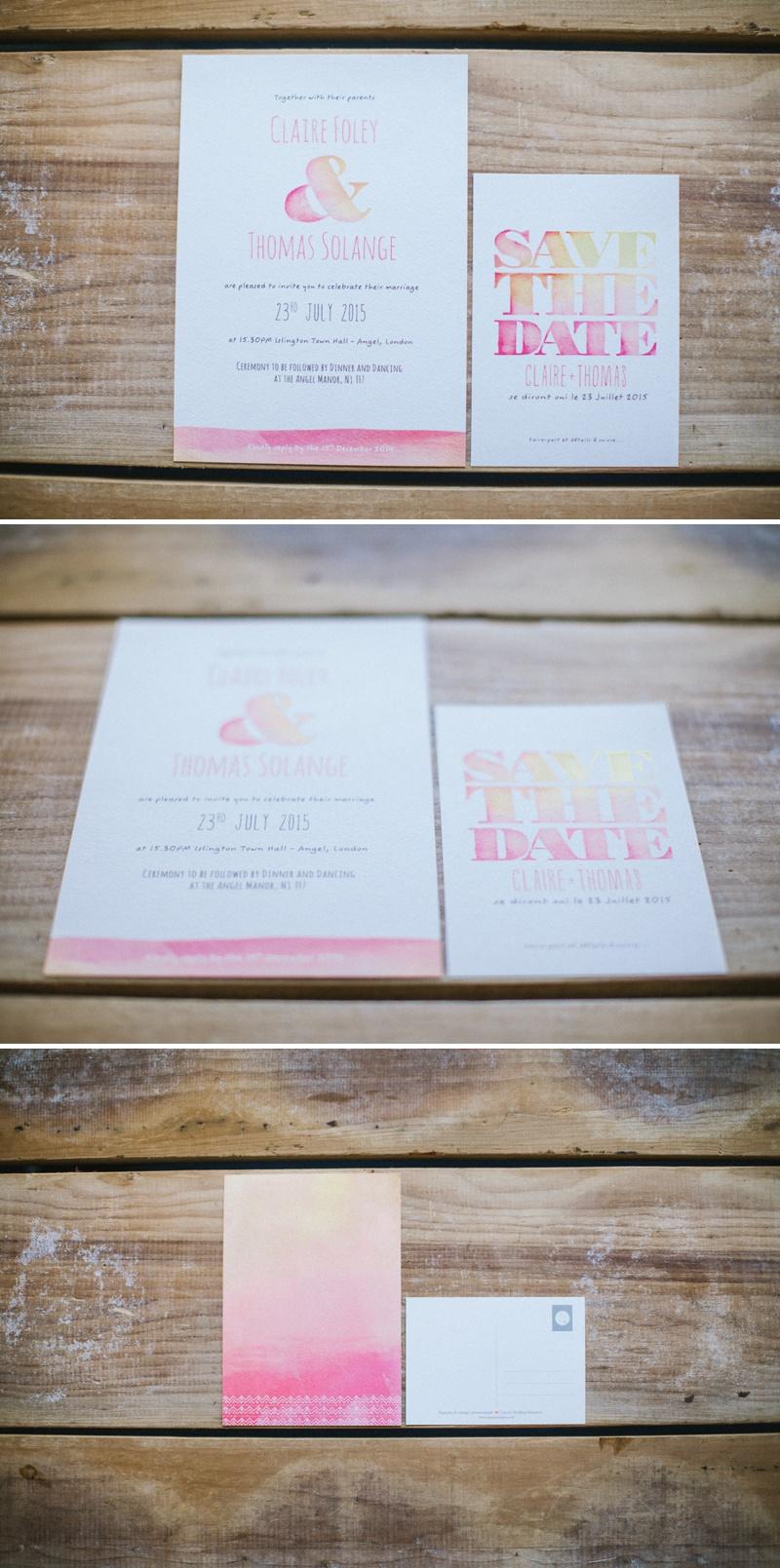 Pepper & Joy Watercolour Wedding Invitations Pink