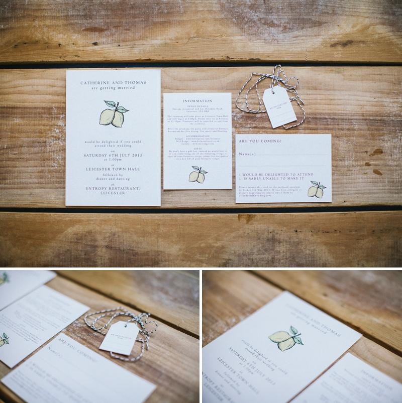 Golden Apple Designs Wedding Stationery Citrus Fruit Lemon Motif