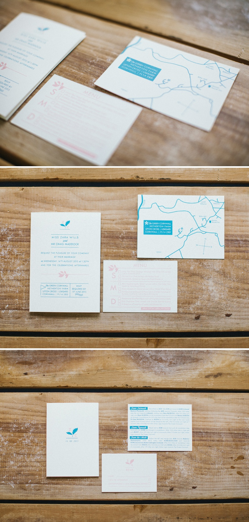 Pirrip Press Blue Letterpressed Wedding Stationery Invitations Oak Tree Motif