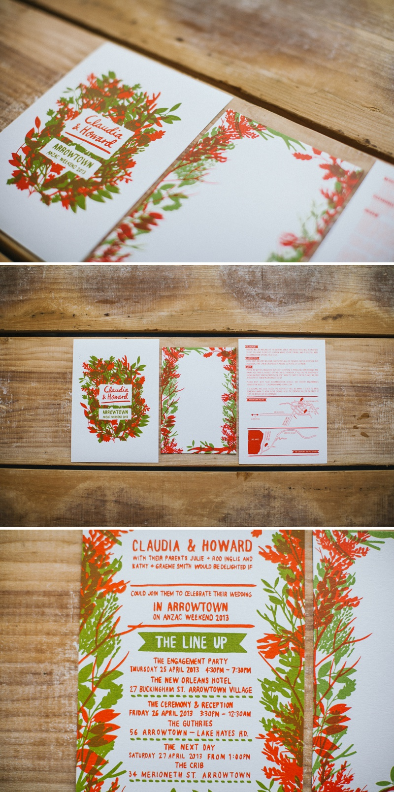Pirrip Press Autumn Fall Inspired Wedding Invitations Stationery Festival Red Green
