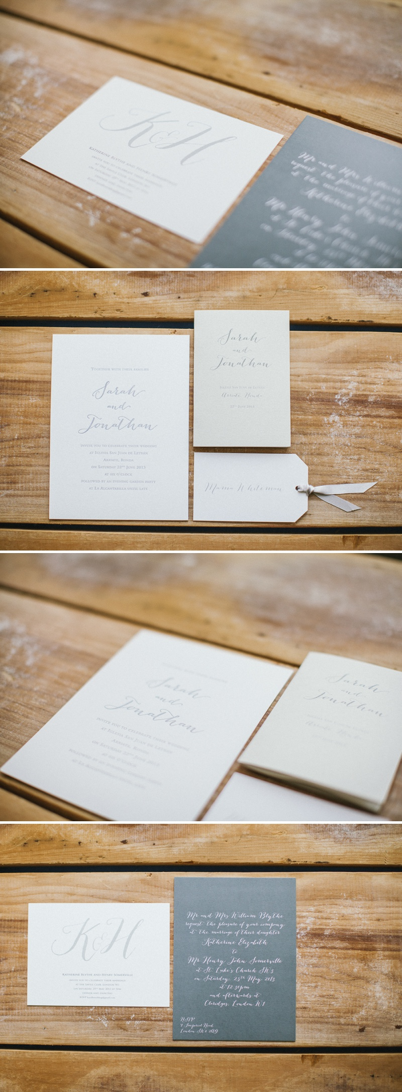 CLD Stationery Letterpressed Grey and Cream Colour Scheme Wedding Invitation
