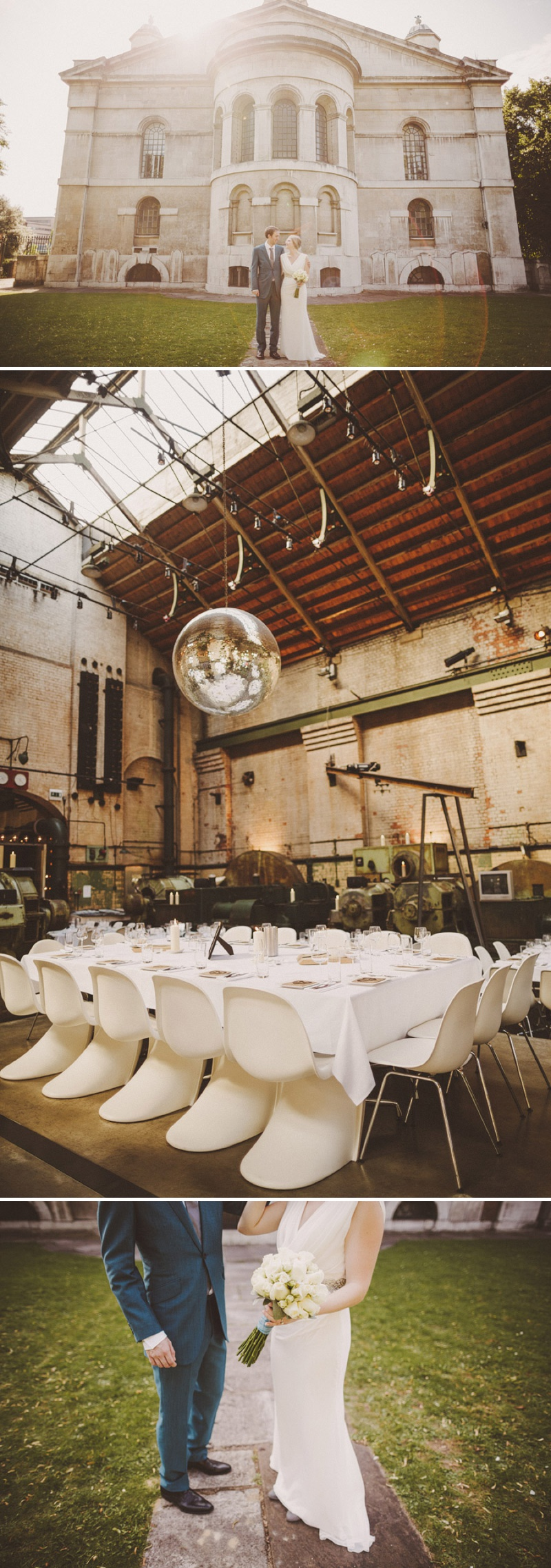 A hip city wedding held at an power station art gallery in East London with a Cymbeline 1930s inspired dress and a white rose bouquet with photography by Ed Peers._0008