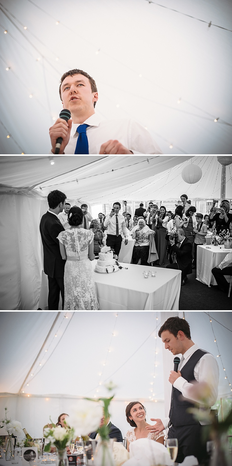 An Understated and elegant wedding with white colour scheme, marquee, fairy lights, trestle tables and rustic touches_0019
