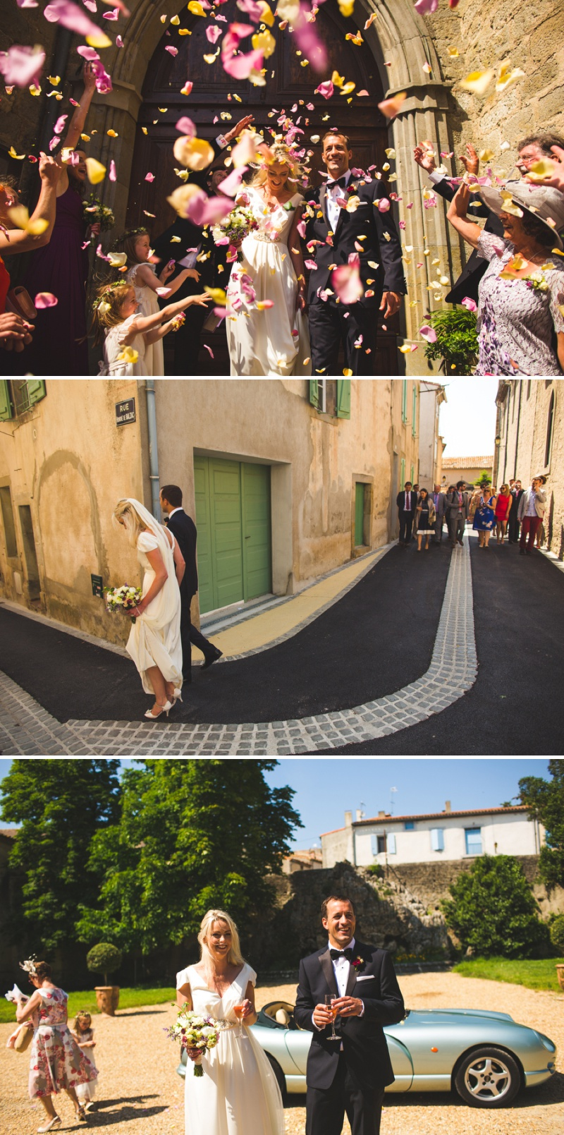 A Classically Elegant Black Tie Destination Wedding At Château de Pennautier In France With A J.Crew Vintage Wedding Dress, A Wild Rose And Peony Bouquet And A French Croquembouche