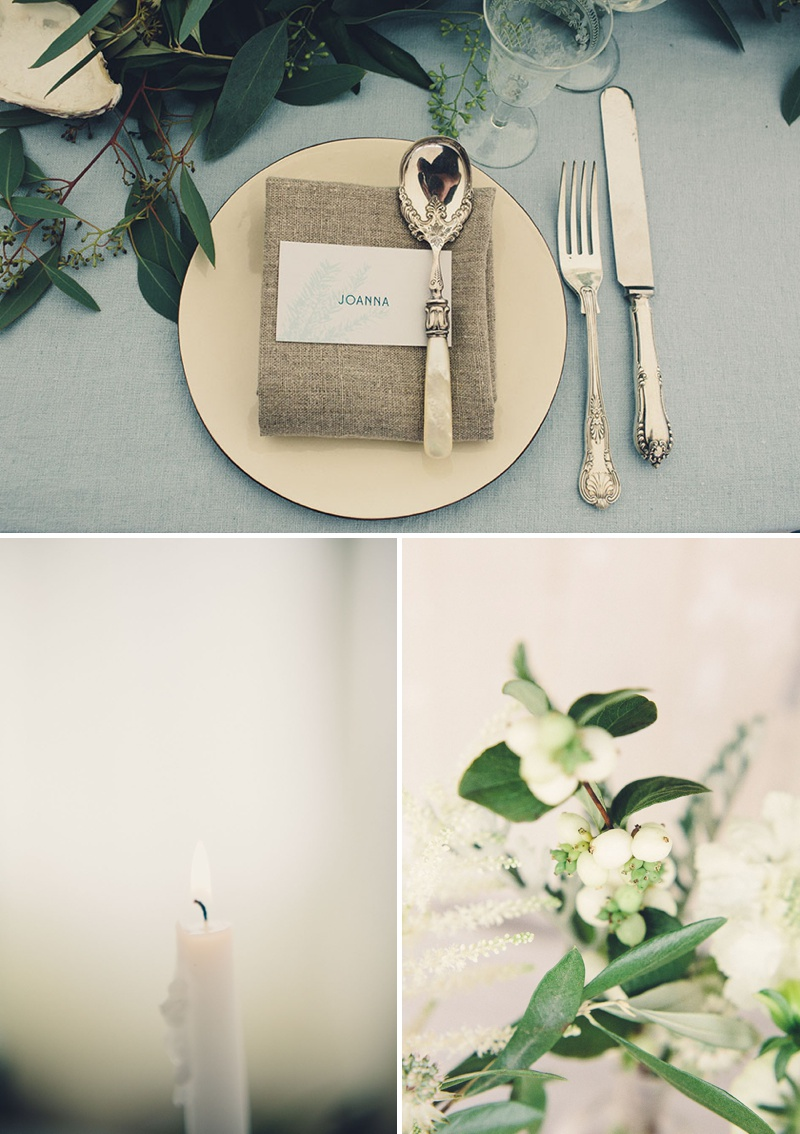 A Coastal Wedding Decor Inspiration Shoot From Rock My Wedding Featuring A Rustic Olive Leaf Table Centrepiece And A Luxury Sequinned Wedding Tablescape._0002
