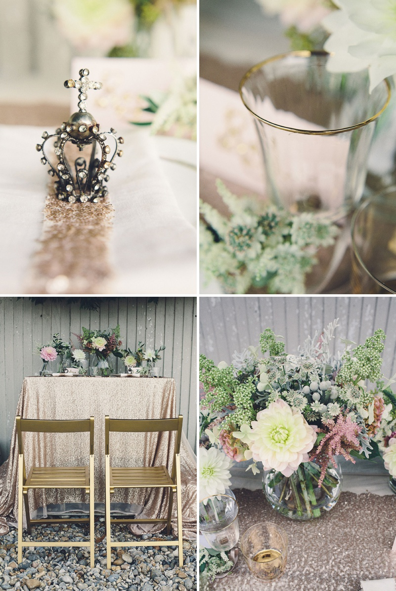 A Coastal Wedding Decor Inspiration Shoot From Rock My Wedding Featuring A Rustic Olive Leaf Table Centrepiece And A Luxury Sequinned Wedding Tablescape._0005