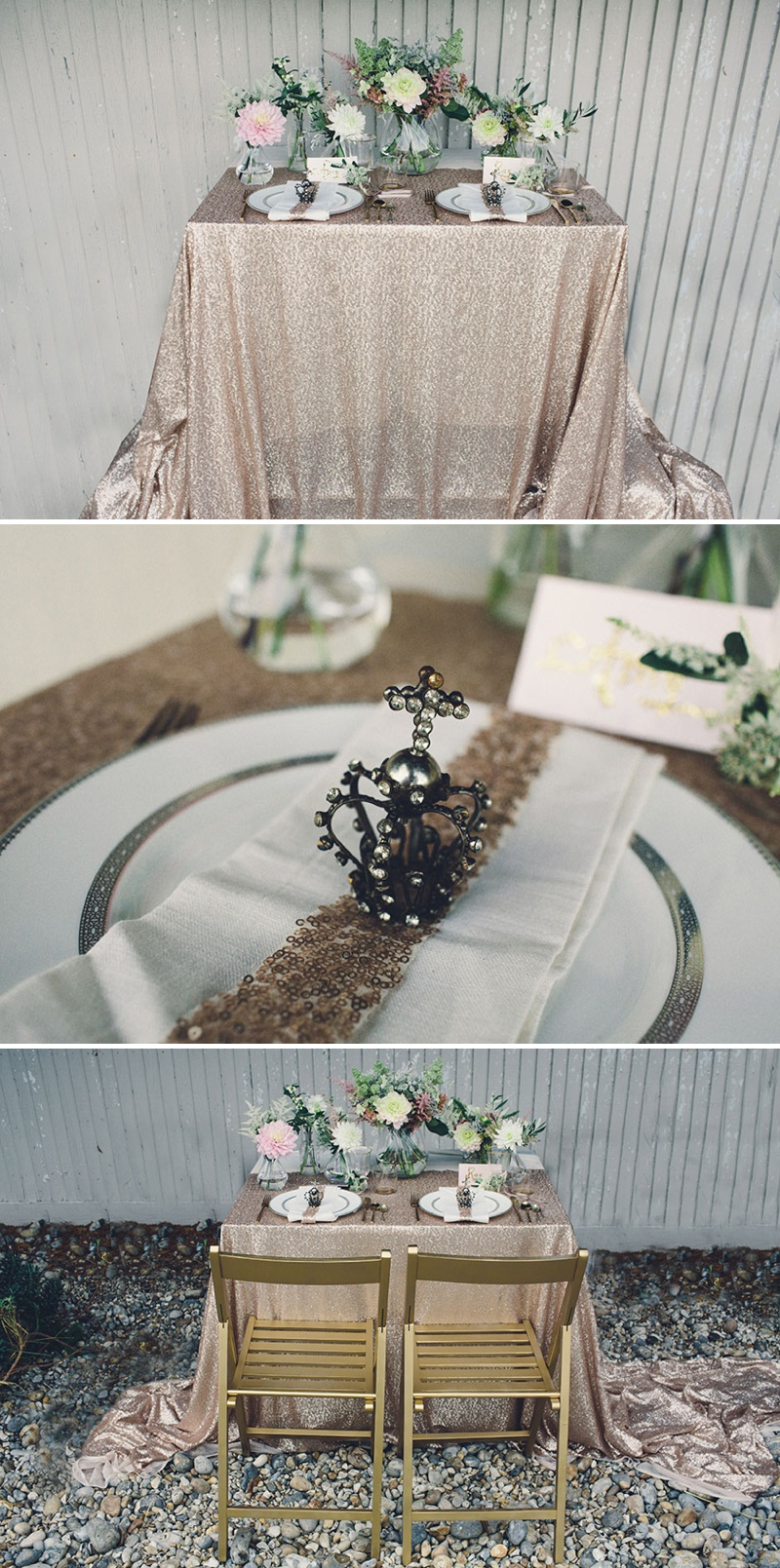 A Coastal Wedding Decor Inspiration Shoot From Rock My Wedding Featuring A Rustic Olive Leaf Table Centrepiece And A Luxury Sequinned Wedding Tablescape._0006
