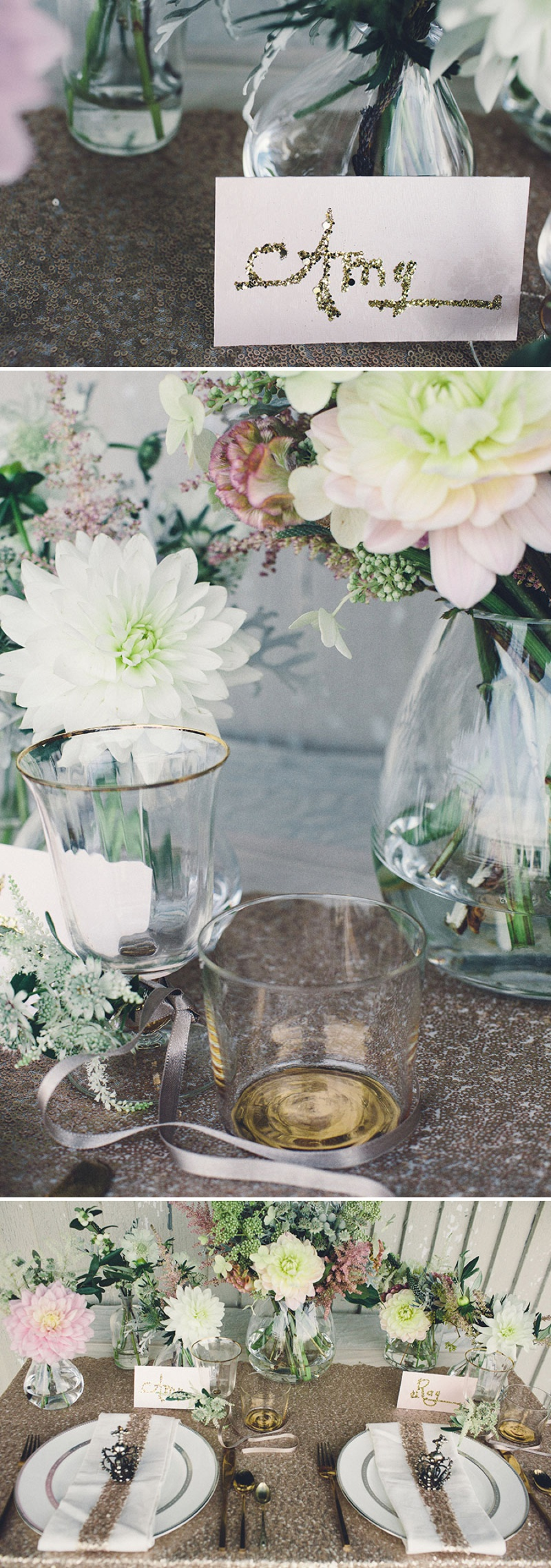 A Coastal Wedding Decor Inspiration Shoot From Rock My Wedding Featuring A Rustic Olive Leaf Table Centrepiece And A Luxury Sequinned Wedding Tablescape._0007