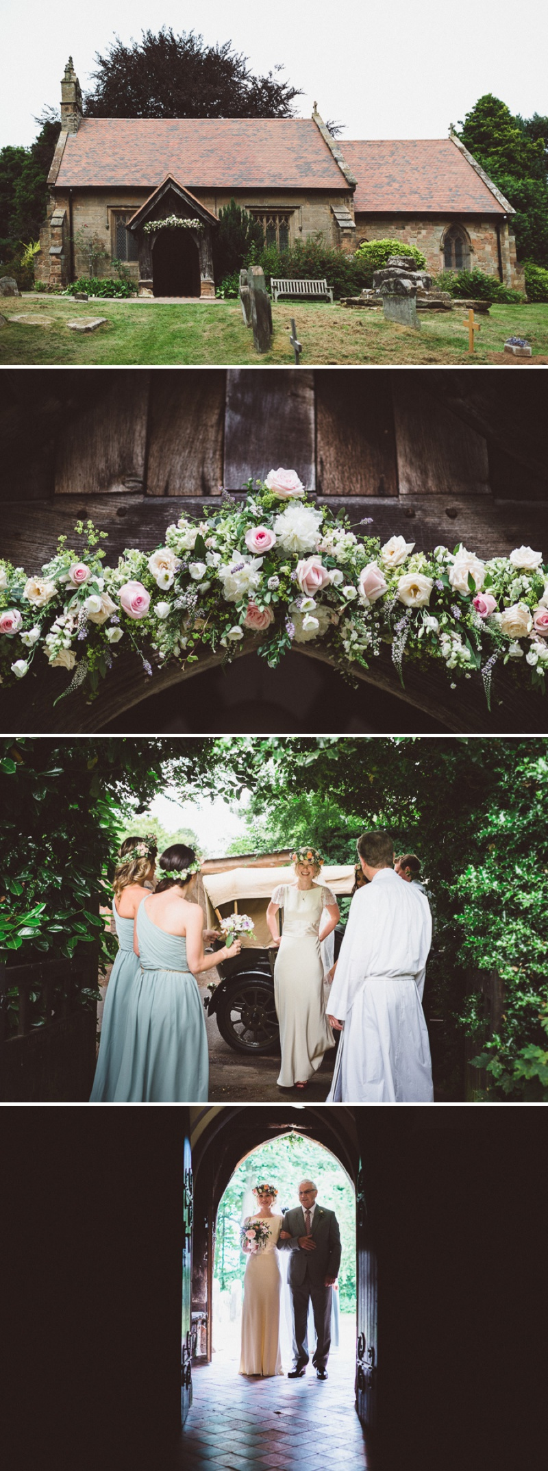 A Beautiful Bohemian Back Garden English Wedding With A Silk Charlie Brear Dress With Lace Cap Sleeves And Flower Crowns From Rhys Parker Photography._0008