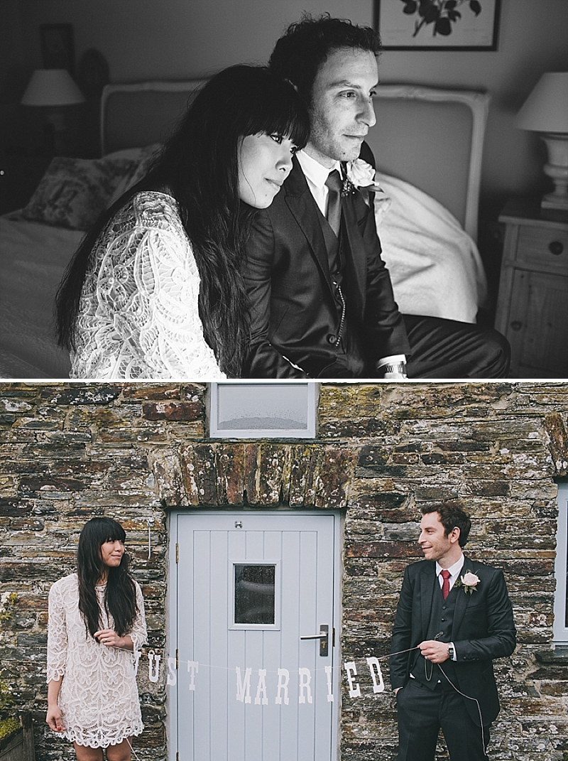 A stylish cornwall sornish wedding with a designer wedding dress by 3.1 Philip Lim 0435 High Tide.