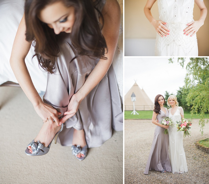 Coral Grey And Ivory Themed Tipi Wedding In Buckinghamshire With Bride In Eden By Jenny Packham And Acacia II Headpiece With Grey Ghost Bridesmaids Gowns And Groom In Bespoke Gieves And Hawkes Suit Images By Sarah Gawler 0004 Touches Of Coral.