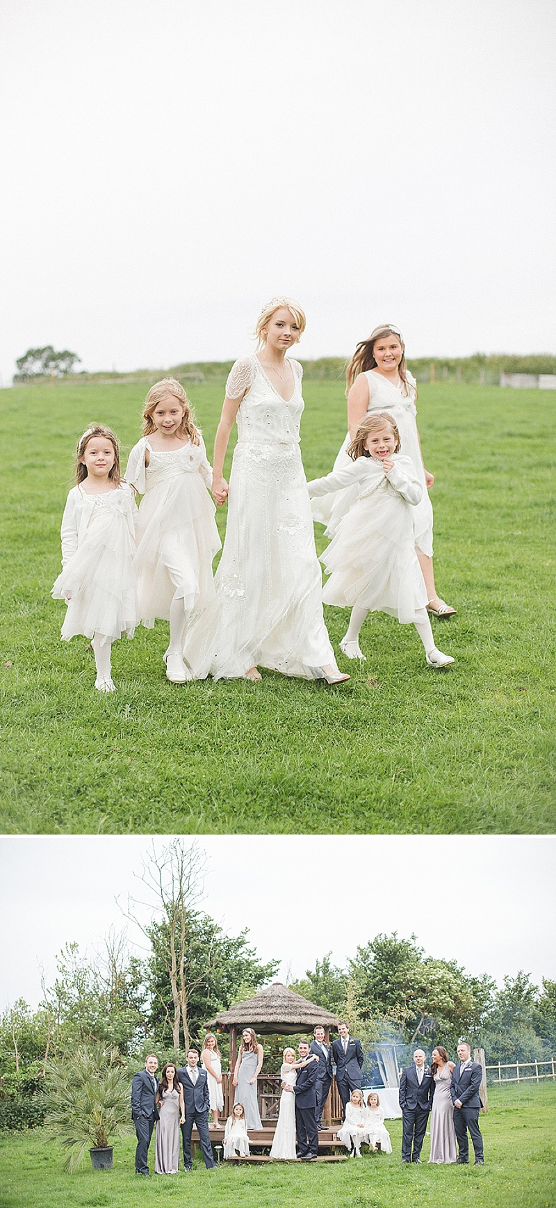 Coral, Grey And Ivory Themed Tipi Wedding In Buckinghamshire With Bride In Eden By Jenny Packham And Acacia II Headpiece With Grey Ghost Bridesmaids Gowns And Groom In Bespoke Gieves And Hawkes Suit Images By Sarah Gawler_0010