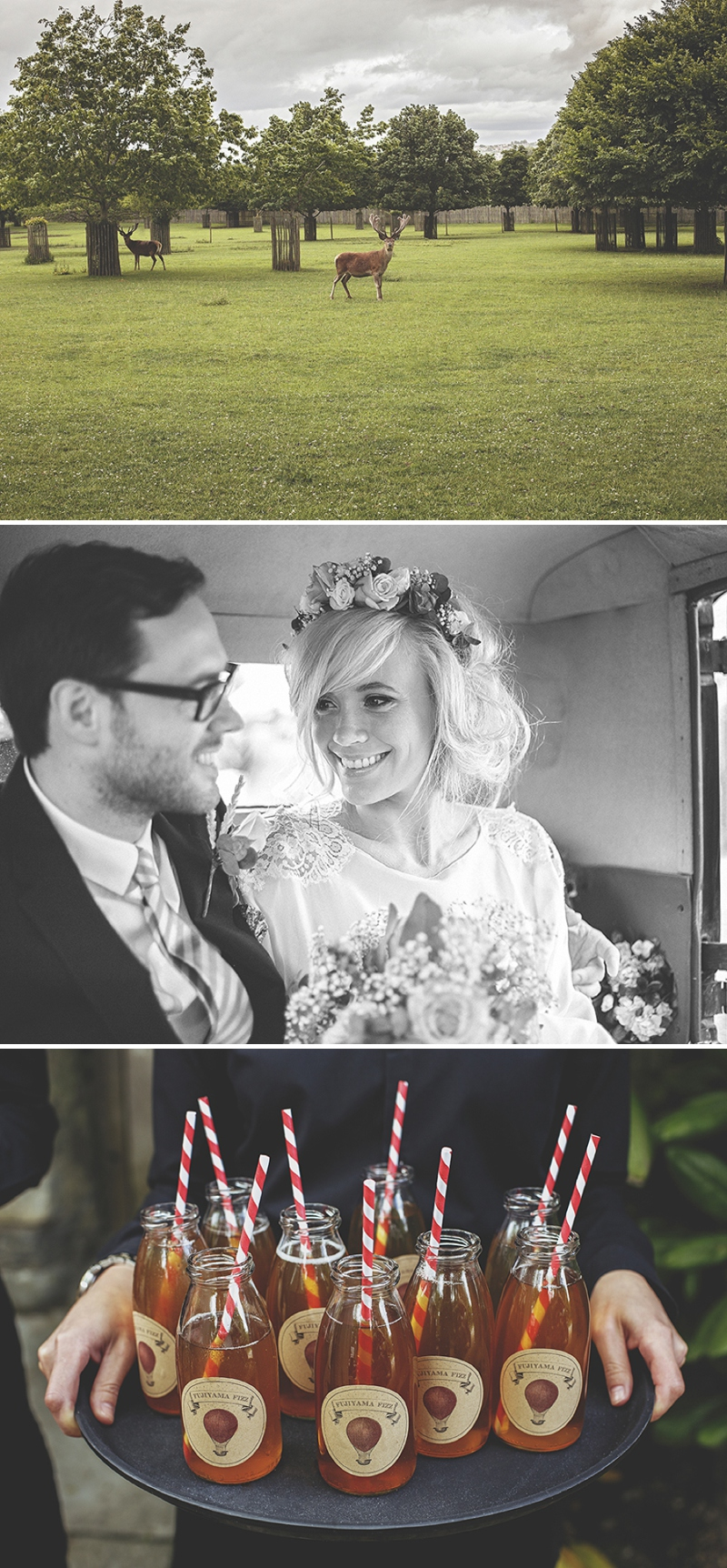 A bespoke designed by the bride wedding dress for a festival Glastonbury themed wedding in Somerset with a floral crown and vintage styling and coral bridesmaids_0477