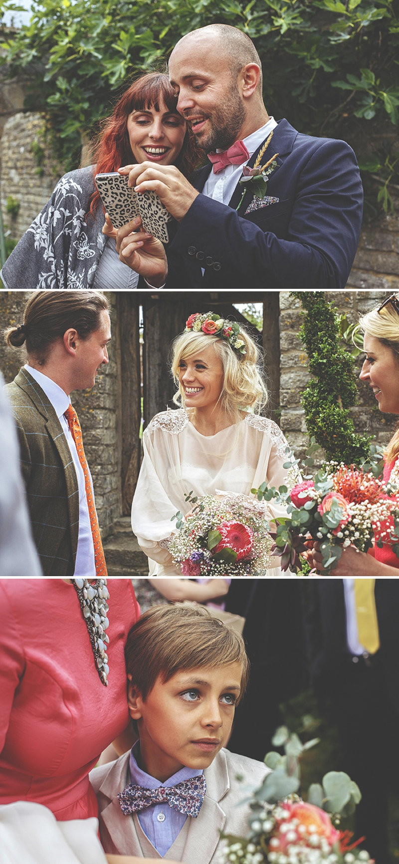 A bespoke designed by the bride wedding dress for a festival Glastonbury themed wedding in Somerset with a floral crown and vintage styling and coral bridesmaids_0478