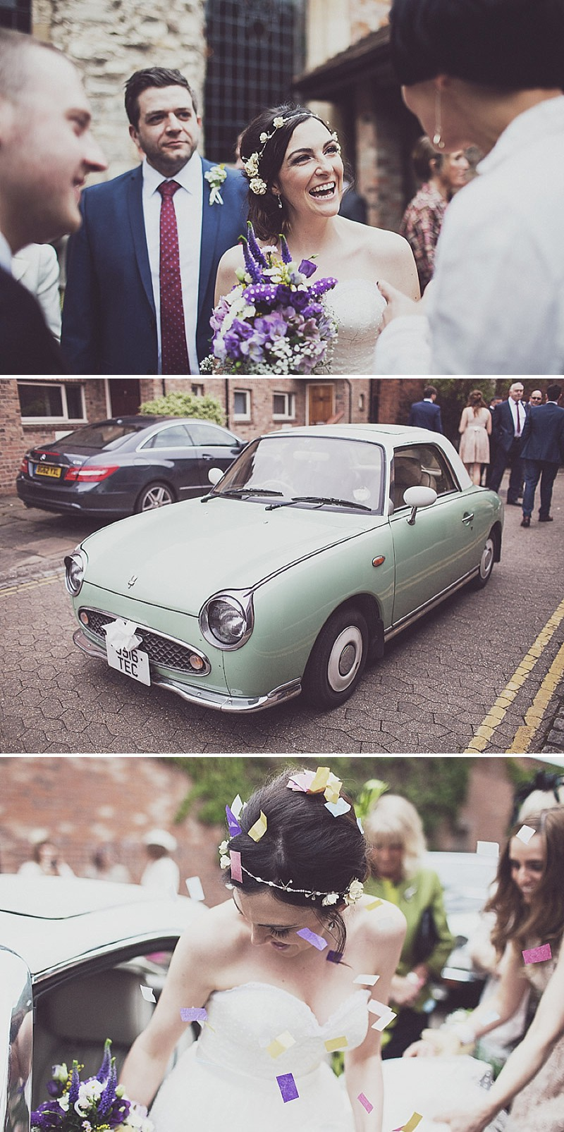 A pink and blue colour scheme Modern wedding at Bedern Hall and