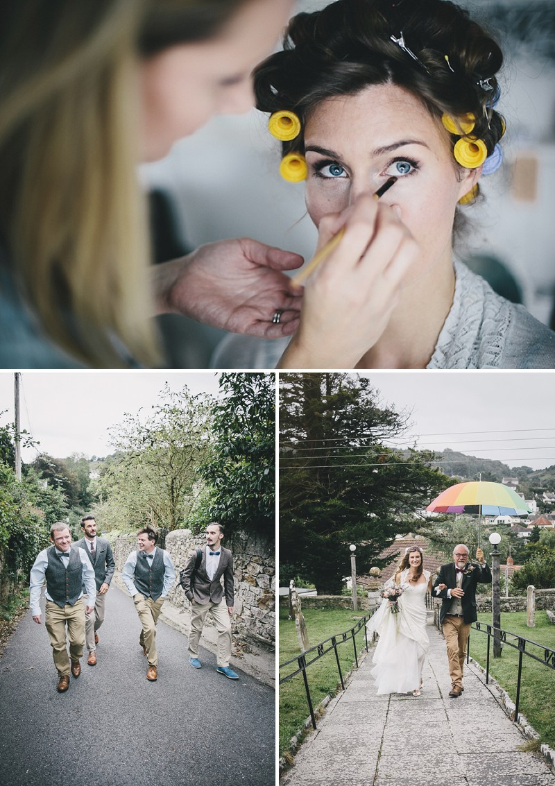 A rustic wedding at River Cottage in Devon with hand made DIY favours and grey silver bridesmaid dresses from Monsoon_0002