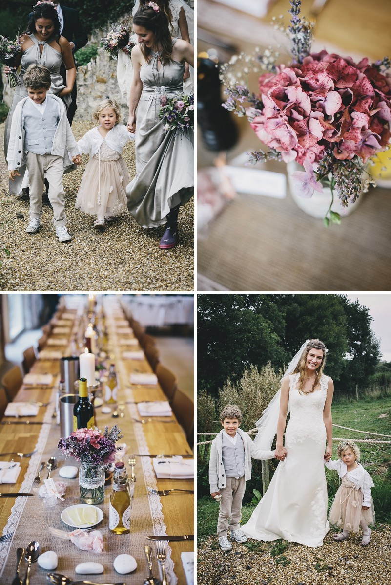 A rustic wedding at River Cottage in Devon with hand made DIY favours and grey silver bridesmaid dresses from Monsoon_0005