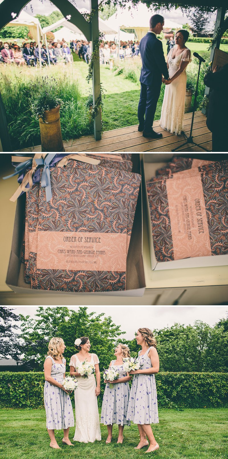 A Marquee Wedding With An Outdoor Ceremony In A Wooden Pergola With Bride In Jenny Packham And Fur Coat And No Knickers Accessories And Paisley Print Wedding Stationery Images By Samuel Docker 2