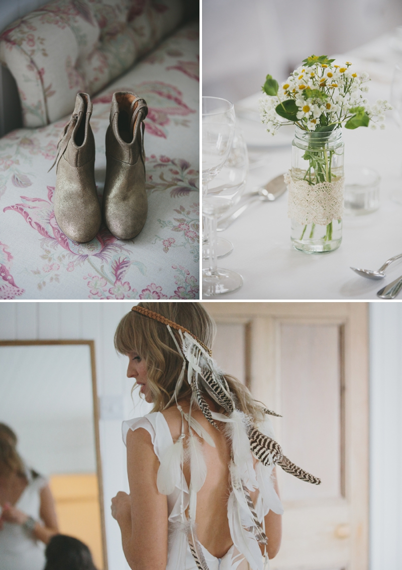 A beautiful modern wedding at Crear in Scotland with a sarah foy dress and feather headdress 0583 Wild Beauty.