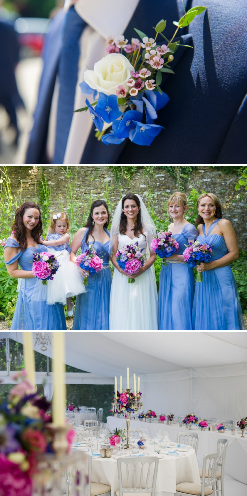 Traditional White Wedding At The Rectory In Wiltshire With Bride In Bespoke Gown And Vibrant Blue Hydrangeas And Hot Pink Peonies In Wedding Flowers 3