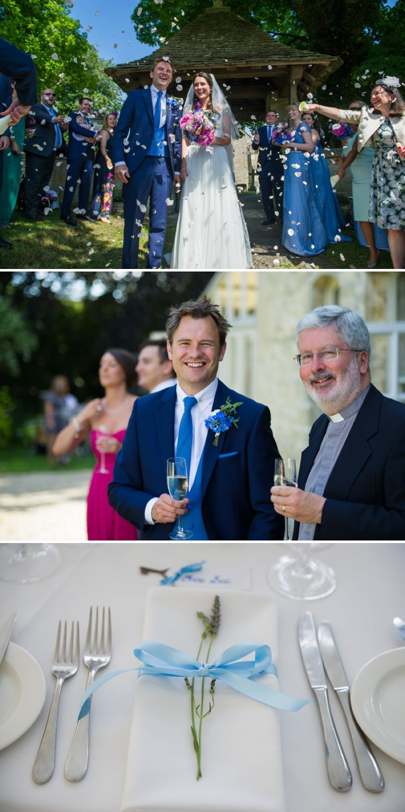 Traditional White Wedding At The Rectory In Wiltshire With Bride In Bespoke Gown And Vibrant Blue Hydrangeas And Hot Pink Peonies In Wedding Flowers 4