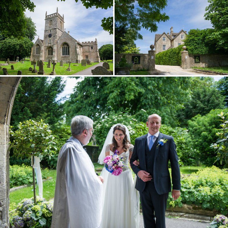 Traditional White Wedding At The Rectory In Wiltshire With Bride In Bespoke Gown And Vibrant Blue Hydrangeas And Hot Pink Peonies In Wedding Flowers 5