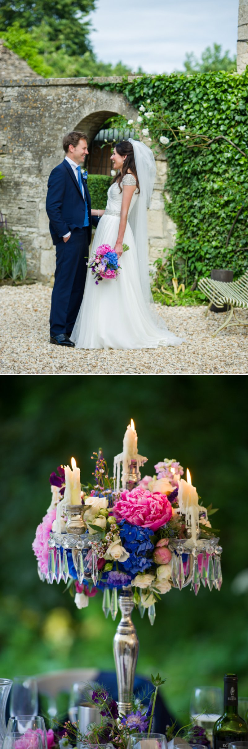 Traditional White Wedding At The Rectory In Wiltshire With Bride In Bespoke Gown And Vibrant Blue Hydrangeas And Hot Pink Peonies In Wedding Flowers 6